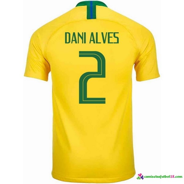 Dani Alves Camiseta 1ª Kit Brasil 2018 Amarillo